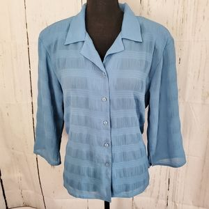 Dusty Blue Textured Button Down Blouse